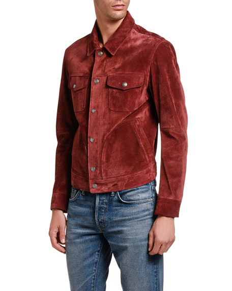 Image 5 of 5: TOM FORD Men's Suede Trucker Jacket