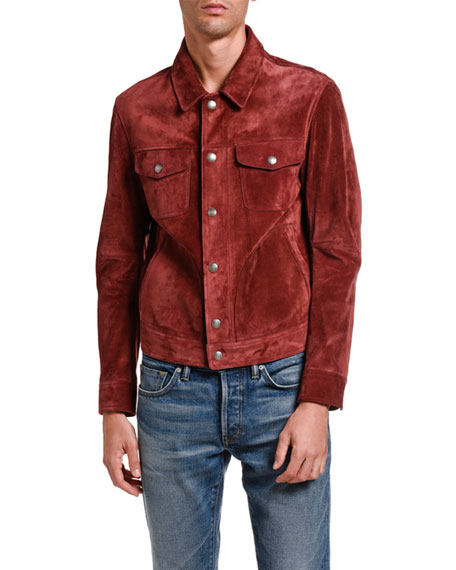 Image 1 of 5: TOM FORD Men's Suede Trucker Jacket