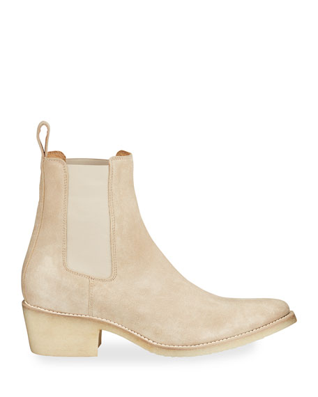 Image 3 of 4: Amiri Men's Suede Point-Toe Chelsea Boots