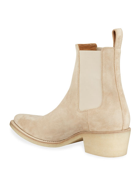 Image 4 of 4: Amiri Men's Suede Point-Toe Chelsea Boots