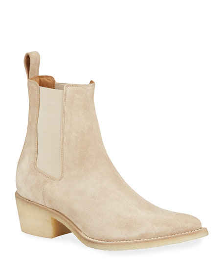Image 1 of 4: Amiri Men's Suede Point-Toe Chelsea Boots