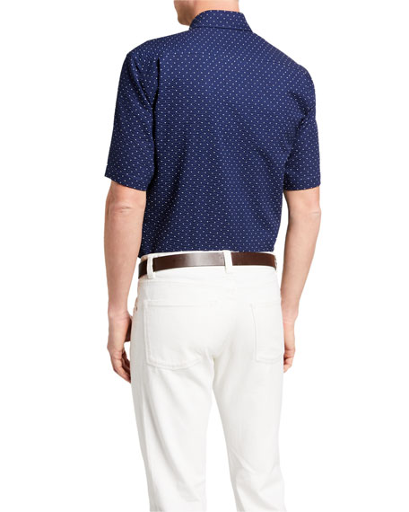 Image 2 of 2: Neiman Marcus Men's Seersucker Polka Dots Sport Shirt