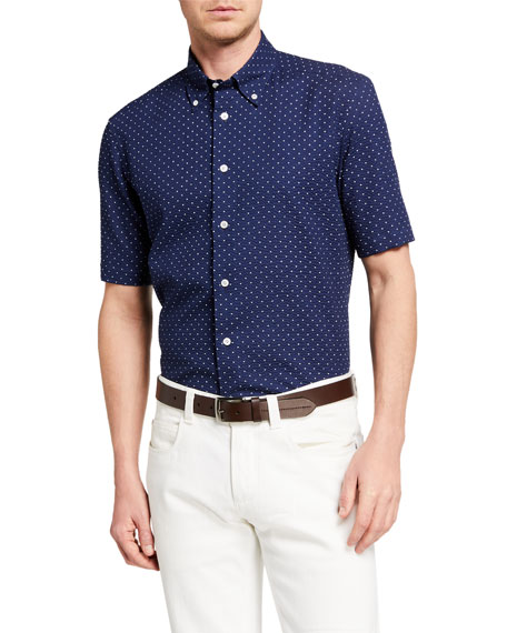 Image 1 of 2: Neiman Marcus Men's Seersucker Polka Dots Sport Shirt