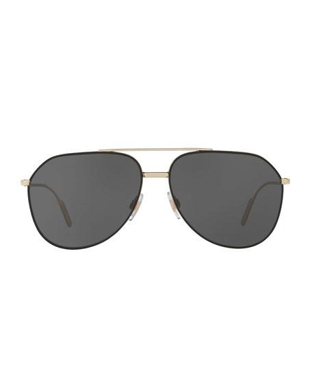 Dolce & Gabbana Men's Metal Double-Bridge Aviator Sunglasses
