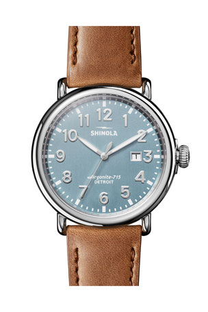 Shinola Men's 47mm Runwell 3HD Watch with Leather Strap