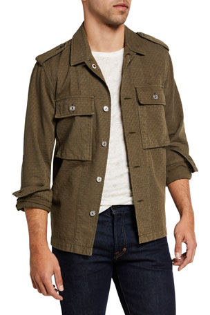 7 for all mankind Men's Textured Military Shirt Jacket