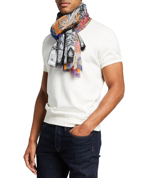 Image 1 of 2: Etro Men's Multipattern Linen Scarf