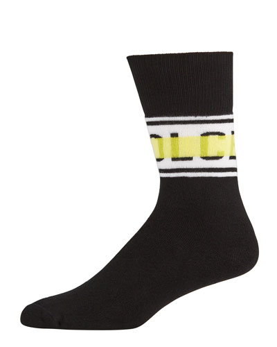 Men's Cotton-Blend Logo Socks
