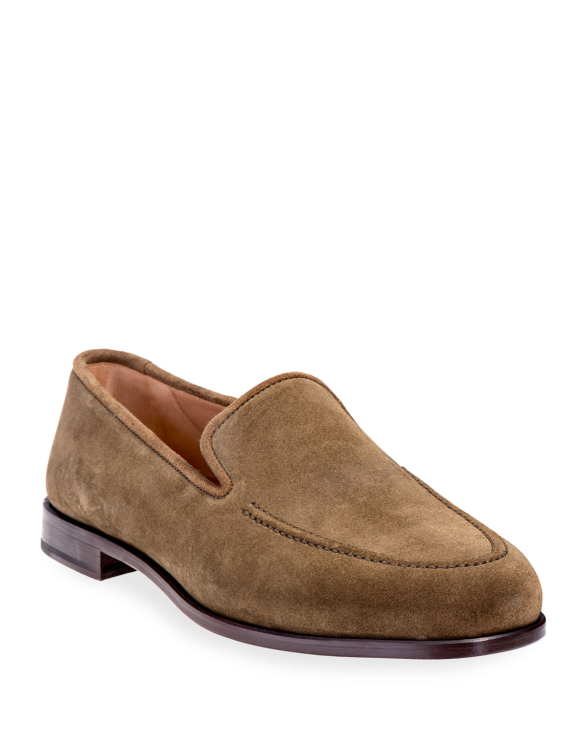 Stubbs and Wootton Men's Venetian Apron-Toe Suede Loafers