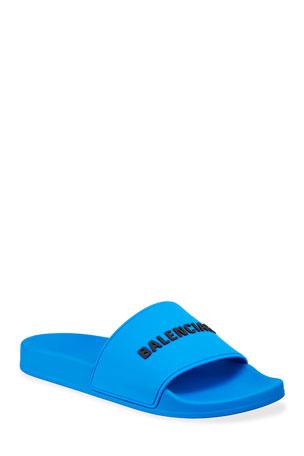 Balenciaga Men's Logo Rubber Pool Slide Sandals
