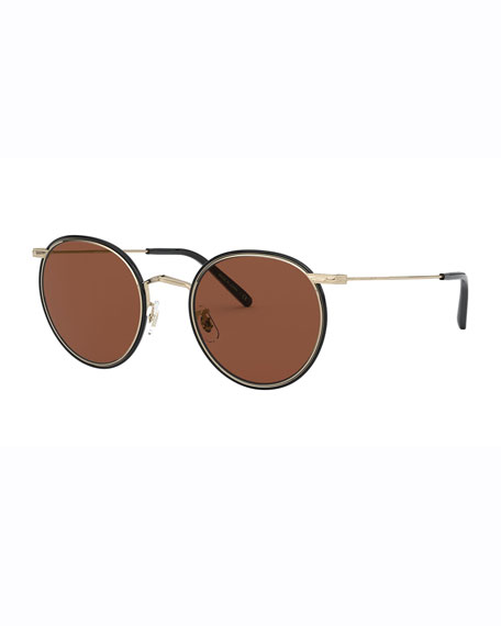 Oliver Peoples Men's Casson Round Aviator Titanium Sunglasses
