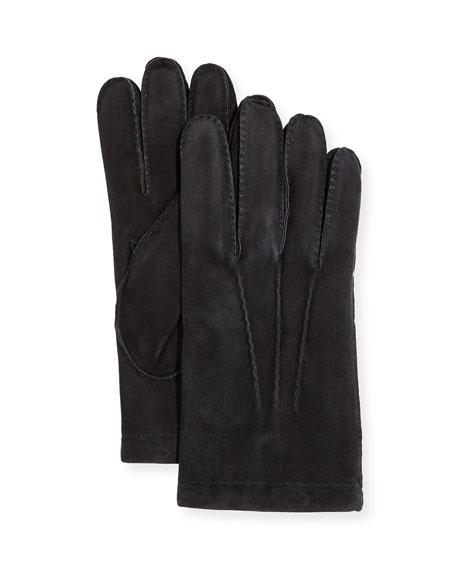 Guanti Giglio Fiorentino Men's Cashmere-Lined Suede Gloves