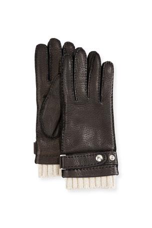 Guanti Giglio Fiorentino Men's Deerskin Gloves w/ Cashmere Trim