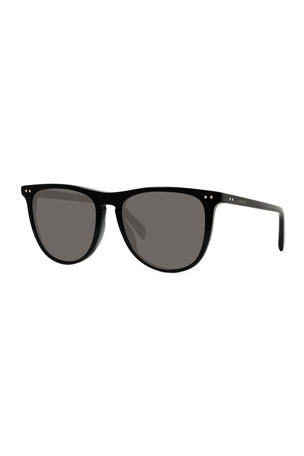 Celine Men's Round Solid Acetate Sunglasses
