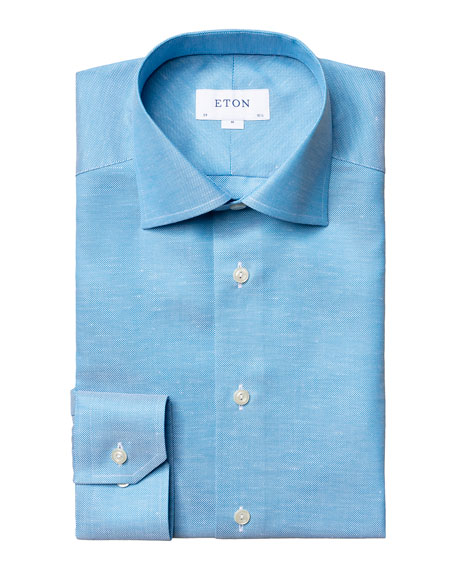 Image 1 of 4: Eton Men's Contemporary-Fit Textured Solid Cotton-Linen Dress Shirt
