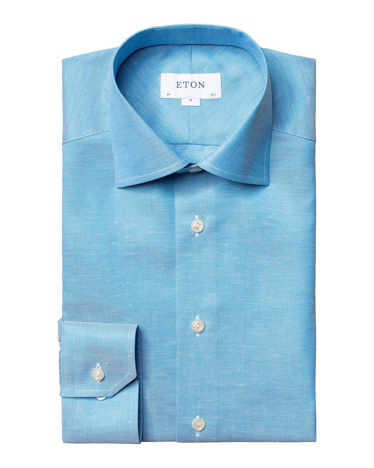 Eton Men's Contemporary-Fit Textured Solid Cotton-Linen Dress Shirt