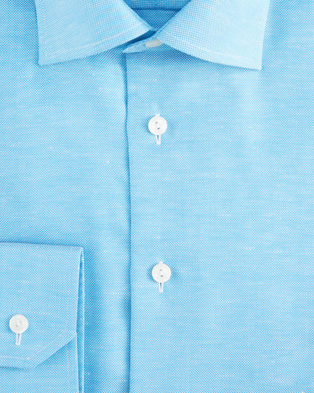 Image 4 of 4: Eton Men's Contemporary-Fit Textured Solid Cotton-Linen Dress Shirt