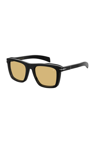 David Beckham Men's Square Solid Acetate Sunglasses