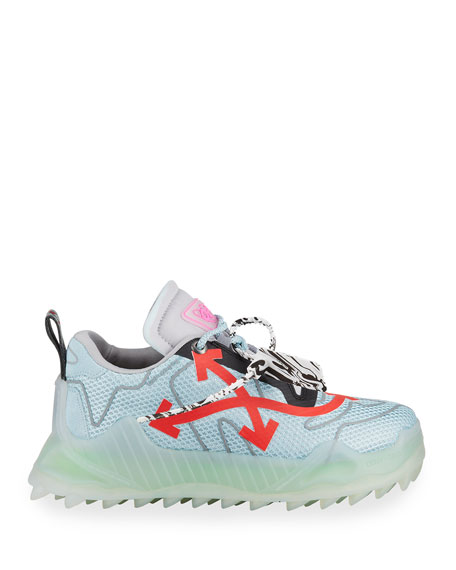 Image 3 of 4: Off-White Men's Odsy Mesh Transparent-Sole Sneakers