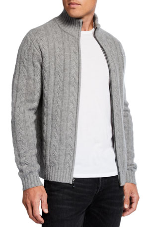 Neiman Marcus Cashmere Collection Men's Cable-Knit Full-Zip Cashmere Sweater