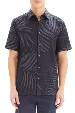 Theory Men's Menlo Saygo Palm-Print Short-Sleeve Sport Shirt