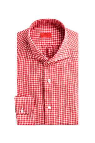 Isaia Gingham Check Linen Dress Shirt