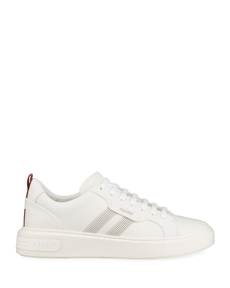 Image 3 of 5: Bally Men's Maxim 7 Striped Leather Low-Top Sneakers