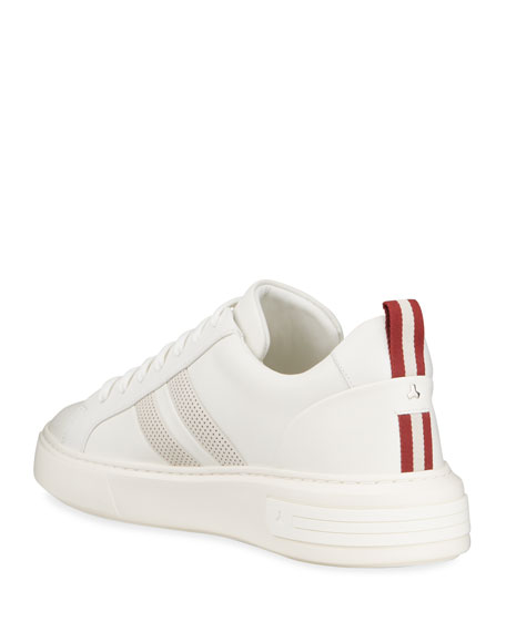 Image 4 of 5: Bally Men's Maxim 7 Striped Leather Low-Top Sneakers