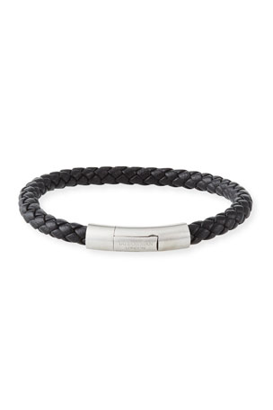 Tateossian Men's Charles Leather Bracelet, Black