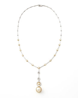 Assael Golden Pearl & Diamond Necklace
