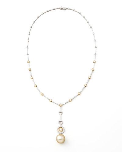 Assael Golden Pearl & Diamond Necklace