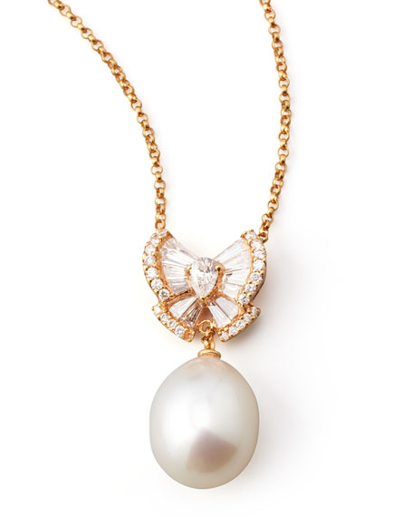 Peach Pearl Bow Necklace