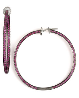 Nam Cho Three-Sided Ruby Hoops