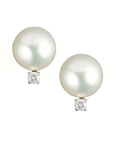 Diamond & Pearl Stud Earrings
