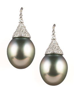 Assael Diamond-Topped Tahitian Earrings