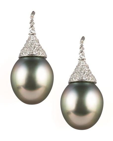 Diamond-Topped Tahitian Earrings