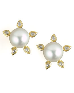 Assael Five-Diamond South Sea Earrings