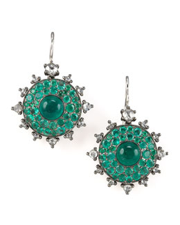 Nam Cho Emerald Bull's Eye Earrings