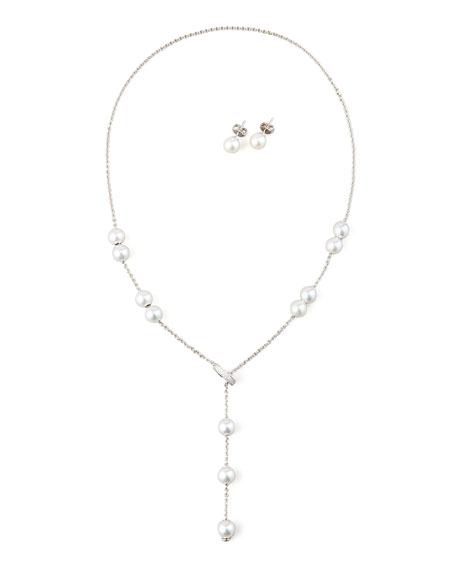 Pearl Necklace & Earring Set, White