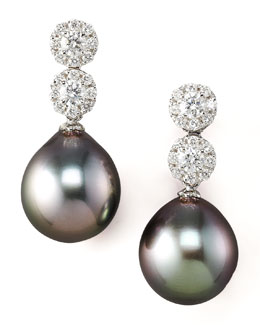 Assael International Diamond & Pearl Drop Earrings