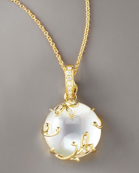 Vine Mother-of-Pearl Pendant Necklace