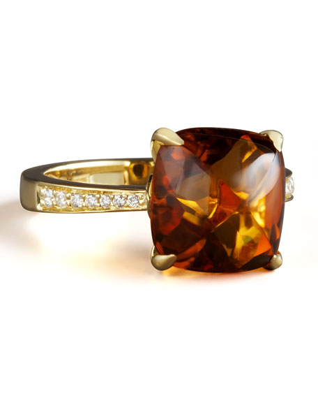 Jelly Bean Citrine & Diamond Ring