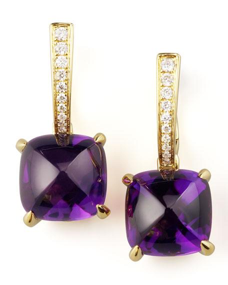 Jelly Bean Amethyst & Diamond Drop Earrings