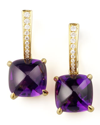 Jelly Bean Amethyst & Diamond Drop Earrings