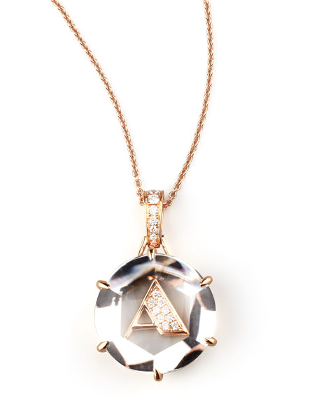 Jelly Initial Rose Gold Diamond Letter Necklace, A