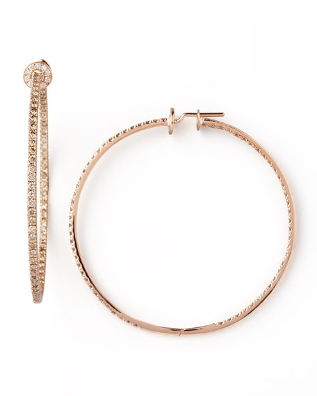 18k Rose Gold Pave Diamond Hoop Earrings