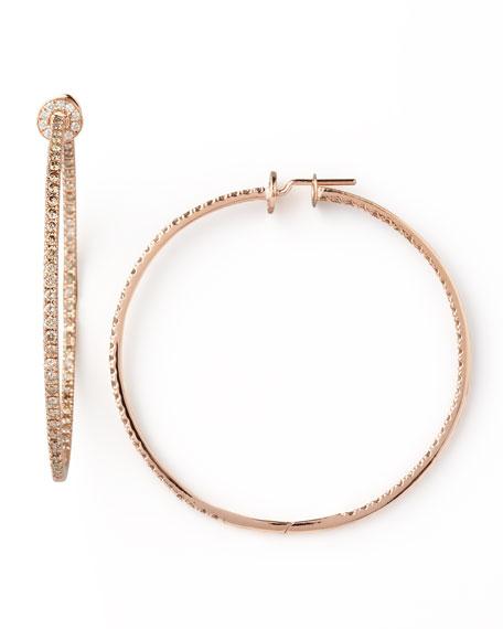 18k Rose Gold Pave Diamond Hoop Earrings