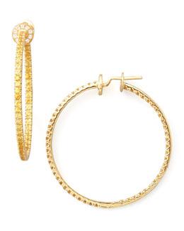 Nam Cho Pave Sapphire Hoop Earrings