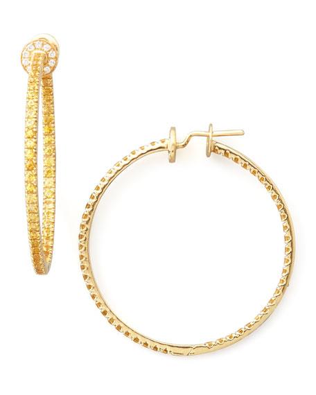 Pave Sapphire Hoop Earrings