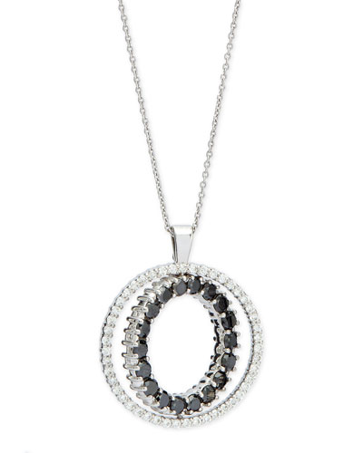 Double-Sided White & Black Diamond Pendant Necklace